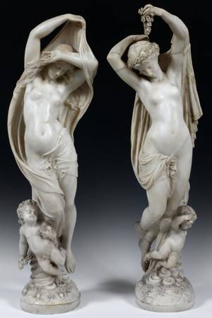 AFTER MATHURIN MOREAU FRENCH MARBLE SCULPTURES