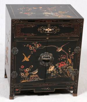 CHINESE BLACK LACQUER CHEST MID 20 TH C