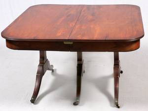 MAHOGANY TRIPLEPEDESTAL DINING TABLE 19TH C