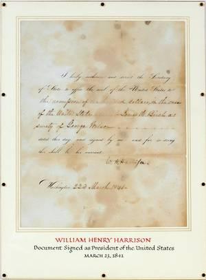 PRESIDENT WILLIAM HENRY HARRISON DOCUMENT 1841