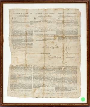 GEORGE WASHINGTON SIGNED TRILINGUAL SHIPS PAPER