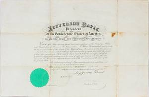 JEFFERSON DAVIS APPOINTMENT DOCUMENT 1862