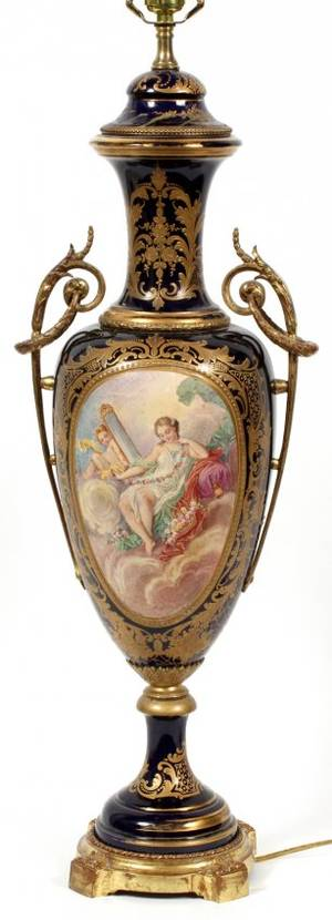 SEVRES STYLE PORCELAIN COVERED URNFORM LAMP