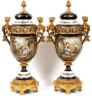 SEVRES PORCELAIN  GILT BRONZE MOUNTED COVERED URNS