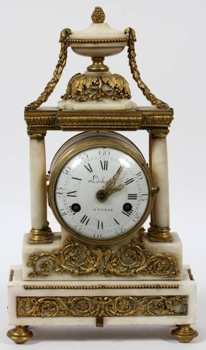 LECHOPIE FRENCH MARBLE MANTEL CLOCK 19TH C