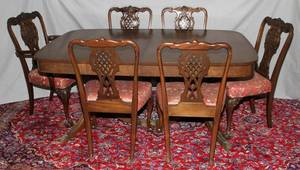 MAHOGANY DOUBLEPEDESTAL DINING TABLE 6 CHAIRS