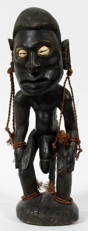 AFRICAN CARVED WOOD FERTILITY SCULPTURE H 12