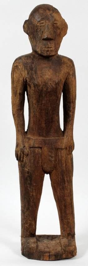NATIVE AMERICAN WOOD CARVING OF A MAN H 34