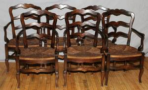 COUNTRY FRENCH WALNUT LADDER BACK ARMCHAIRS 6