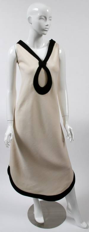 PIERRE CARDIN CREAM  BLACK EVENING DRESS