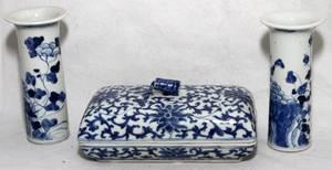 CHINESE BLUE  WHITE PORCELAIN VASES  A BOX