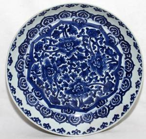CHINESE BLUE  WHITE PORCELAIN BOWL 19TH C