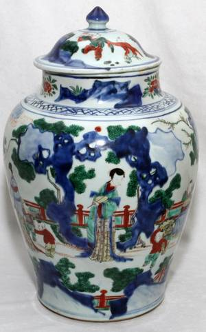 CHINESE ENAMELED PORCELAIN GINGER JAR 19TH C