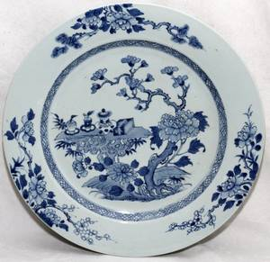 CHINESE BLUE  WHITE PORCELAIN CHARGER 19TH C