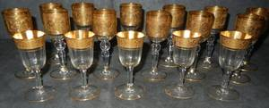 GOLD LEAF  CRYSTAL LIQUOR GLASSES 12