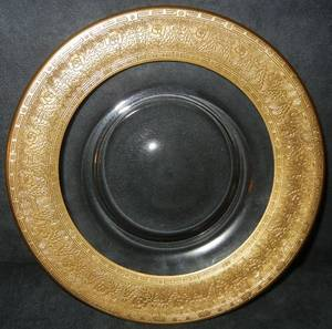 GOLD LEAF  CRYSTAL LUNCHEON PLATES 12 DIA 8