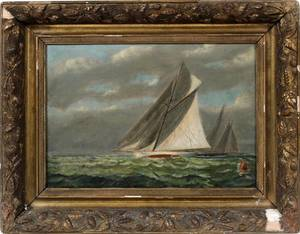 OIL ON CANVAS C 1900 11 X 16 SAILBOAT