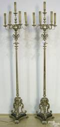 Pair of heavy plated electric standing candelabras