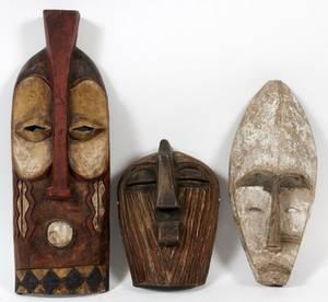 AFRICAN CARVED WOOD CEREMONIAL MASKS 3 PCS