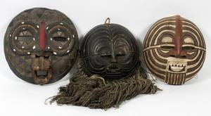 AFRICAN CARVED WOOD ROUND CEREMONIAL MASKS 3