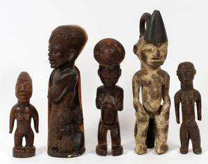AFRICAN CARVED WOOD FIGURES 5 PCS