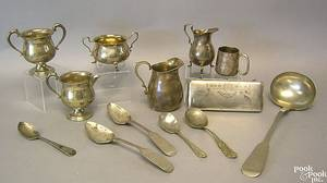 Silver and silver plate to include 2 serving spoons by Willard  Hawley