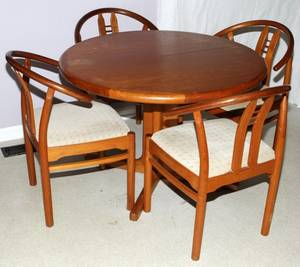 DANISH TEAK WOOD TABLE CHAIRS AND SIDEBOARD