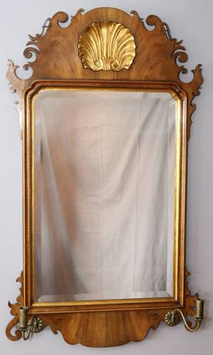 MAHOGANY AND GILT WOOD WALL MIRROR C1900 40H