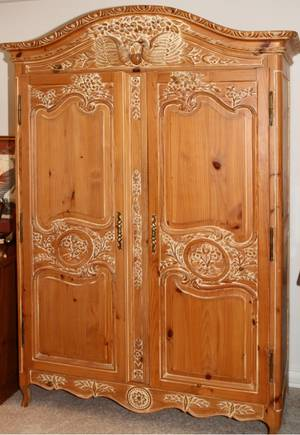 CARVED PINE ARMOIRE H 82 W 56 D 26