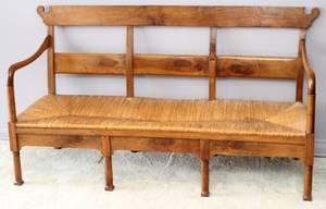 ENGLISH THREE SEAT BANQUET BENCH 19TH C W 68