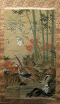 JAPANESE PAINTING ON SILK AS A SCROLL 19TH C