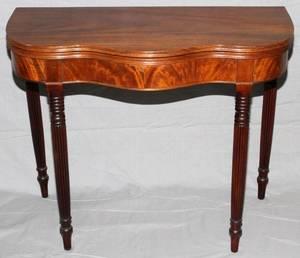 SHERATON MAHOGANY CONSOLECARD TABLE C 1870
