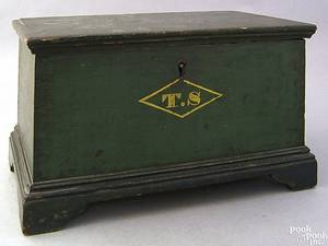 Pennsylvania or New York miniature painted pine blanket chest early 19th c