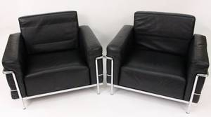 Pair Le Corbusier LC3 Grand Lounge Chairs Cassina
