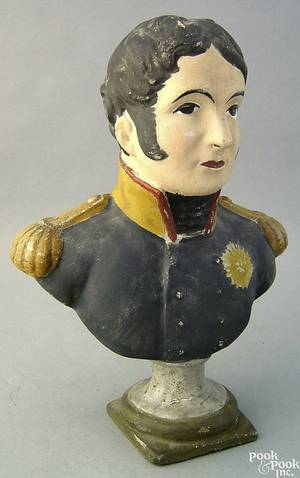 Chalkware bust of Admiral Perry 19th c