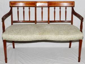 VICTORIAN INLAID MAHOGANY DOUBLE CHAIR SETTEE