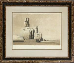 DAVID ROBERTS RA COLORED ETCHING THEBES