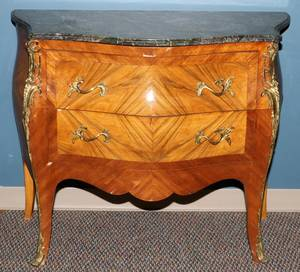 LOUIS XV STYLE MARBLE TOP COMMODE H 34