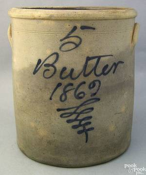 Fivegallon stoneware Butter crock dated 1862