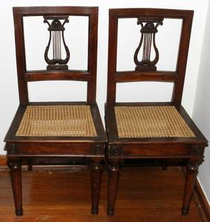 FRENCH WALNUT SIDE CHAIRS 19TH C PAIR