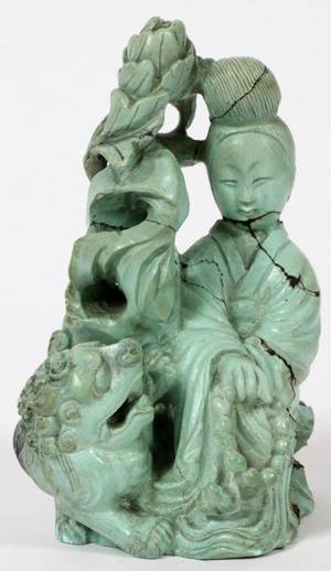 CHINESE CARVED TURQUOISE QUAN YIN H 3 34
