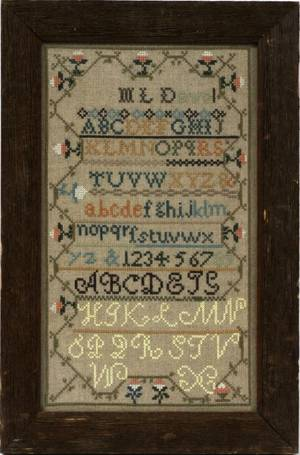 American Needlework Sampler By MLDavol 20th c