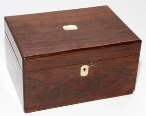 ENGLISH ROSEWOOD WRITING BOX MID 19TH C H 6