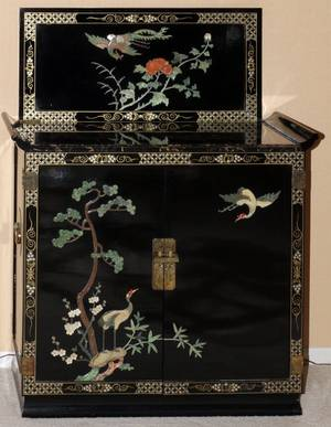 CHINESE LACQUER CABINETBAR MARBLE TOP H 39