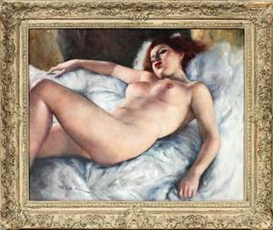PAL FRIED OIL ON CANVAS RECLINING NUDE FEMALE