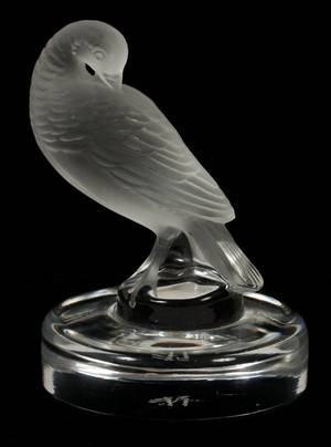 LALIQUE CRYSTAL BIRD FIGURAL RING DISH H 3