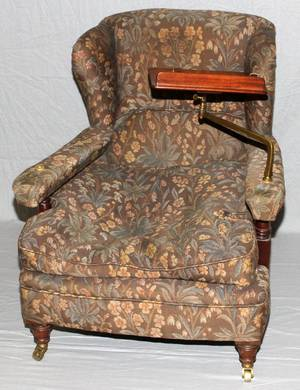 ENGLISH MAHOGANY  UPHOLSTERED LIBRARY ARMCHAIR