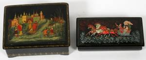 RUSSIAN LACQUER BOXES SIGNED TWO