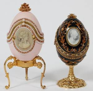 FABERGE STYLE DECORATED MUSIC BOX EGGS STANDS