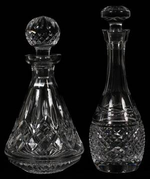 WATERFORD CRYSTAL DECANTERS TWO H 11  10